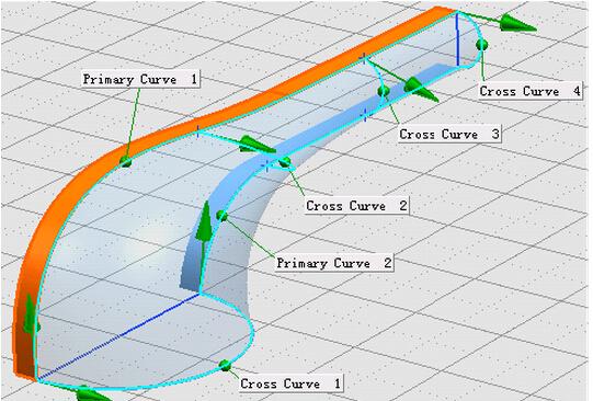 10, 用【通过曲线网格】命令,创建网格曲面.